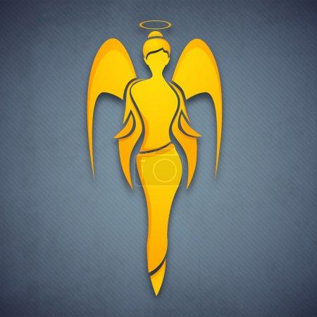 Illustration pour Femmes heureux jour carte de voeux ou fond avec un ange ou de fée en couleur jaune sur fond gris. EPS 10. - image libre de droit