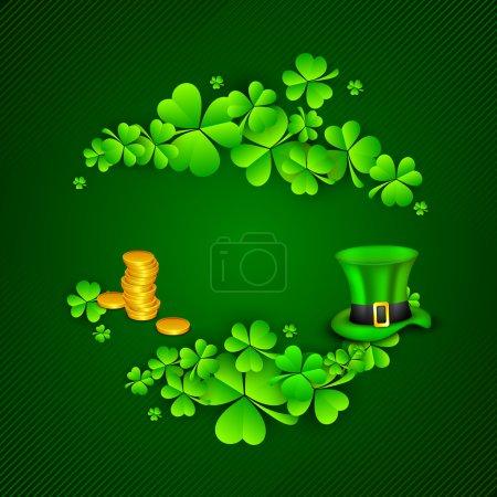 Irish four leaf lucky clovers, golden coins and leprechaun hat b