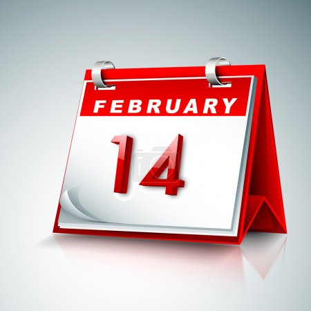 Calender with date 14 February, Happy Valentines Day concept.