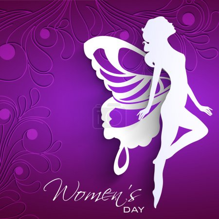 Illustration pour Happy Women's Day carte de vœux ou fond avec silhouette blanche d'une femme avec des ailes sur fond violet . - image libre de droit