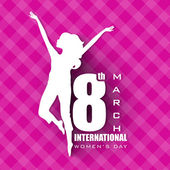 Happy Women's Day greeting card gift card on pink background wi
