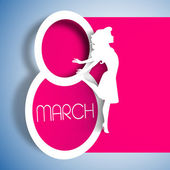Happy Women's Day greeting card gift card on pink background with design of a women and text 8th March