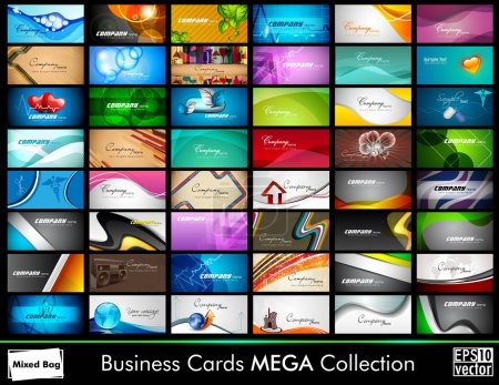 Illustration for Elegant Abstract Vector Business Cards set in various concepts. Vector Illustration in Eps 10 format. - Royalty Free Image