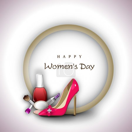 Illustration for Happy Women's Day background with ladies shoe and cosmetics. - Royalty Free Image