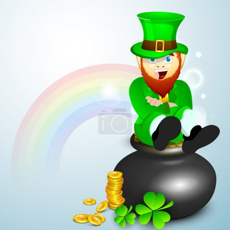 Saint Patrick's Day concept with happy leprechaun, gold coins po