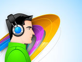 Abstract musical background young boy with headphones listening