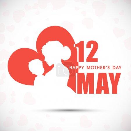 Photo pour Silhouette d'une mère et son enfant avec texte 12 mai pour la fête des mères heureux - image libre de droit