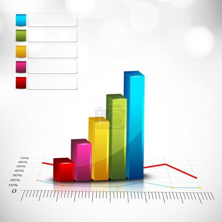 Abstract 3D statistics, business profit and loss background. EPS