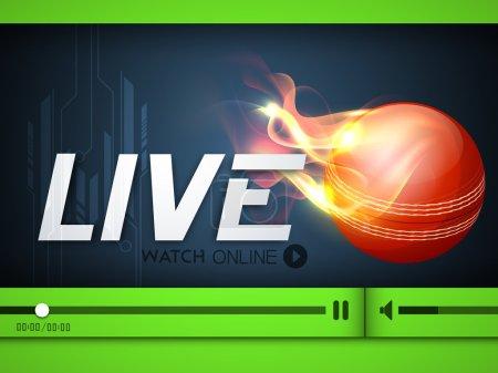 Illustration of Cricket match live telecast promotion on interne