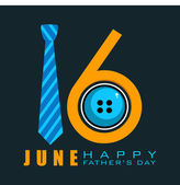 Happy Fathers Day concept with text 16 June made by a necktie and button on black background