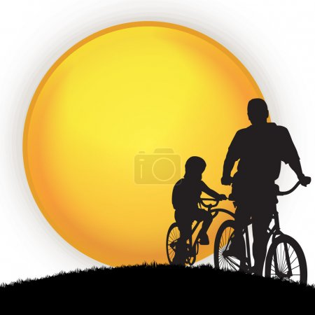 Illustration for Happy Fathers Day concept with silhouette of father and child go for a cycle ride and blank yellow banner for your text. - Royalty Free Image