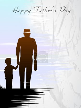 Illustration for Silhouette of a father holding his child hand, Happy Fathers Day concept for flyer, banner or poster. - Royalty Free Image