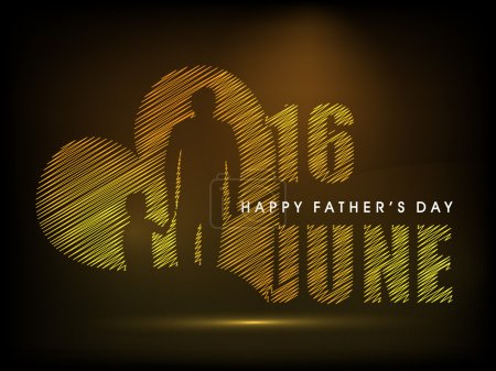Illustration for Happy Fathers Day concept for flyer, banner or poster with image of a father holding his child hand and text 16th June on brown background. - Royalty Free Image