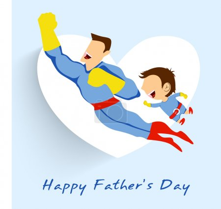Illustration for Superhero father and son flying up on white heart shape blue background for Happy Fathers Day. - Royalty Free Image