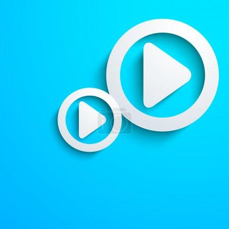 Illustration pour Concept musical avec bouton play sur fond bleu. - image libre de droit
