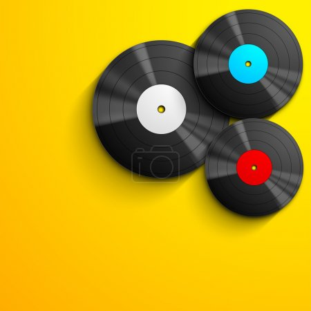 Musical concept with vinyl disc on yellow background.