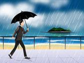 Young man holding umbrella in rainy season