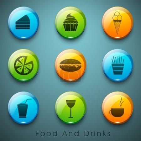 Photo pour Aliments et boissons icônes ensemble. - image libre de droit