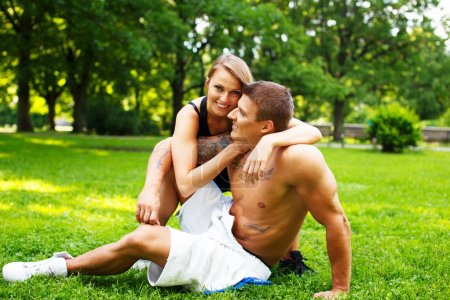 Beautiful sporty couple outdoors