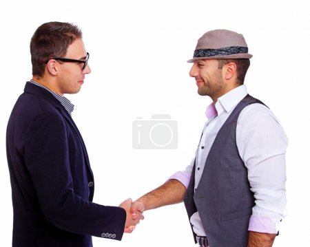 Picture of two men meeting each other...