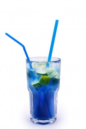 Fresh and blue cocktail with two tubules