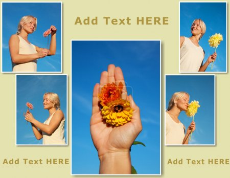 Collage of few photos of blond woman with flowers on the nature