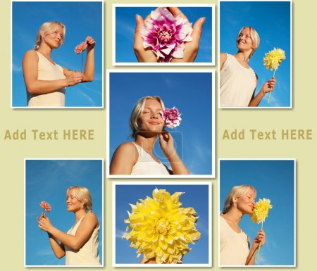 Photo for Collage of several images of young attractive woman and bright flowers - Royalty Free Image