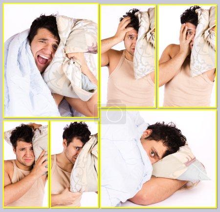 Photo pour Image de l'homme endormi qui ne veulent pas se lever - image libre de droit