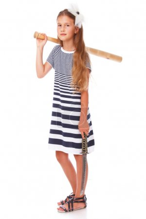 Relaxed girl with sword and hurl