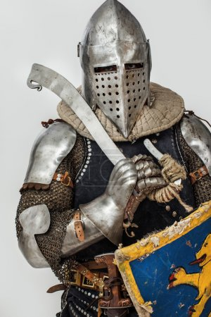 Portrait of armored man with sword and shield