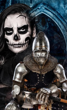 Dark skulled face woman and iron knight