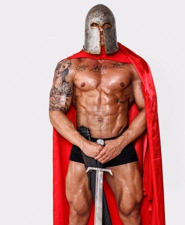 Photo pour Image de guerrier courageux avec une arme - image libre de droit