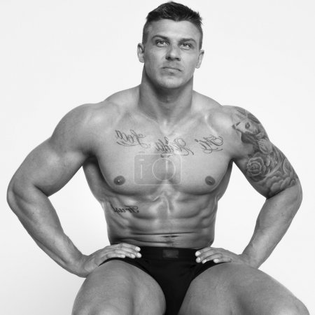 Colorless photo of hot guy with sexy body