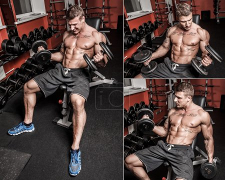 Photo for Collage of several images of bodybuilder who is having hard workout - Royalty Free Image