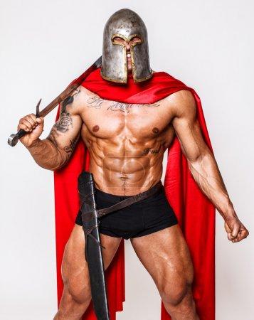 Photo pour Image d'un guerrier géant aux yeux fermés - image libre de droit