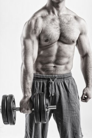Male body with dumbbell