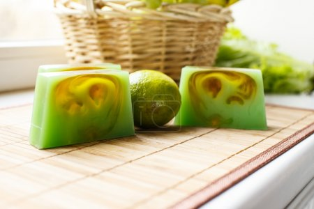 Lime and soap on the table