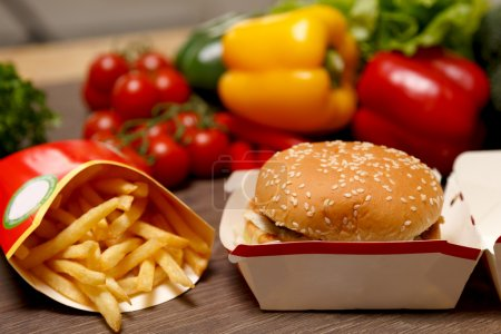 McDonalds' Big Mac and french fries with vegetable...