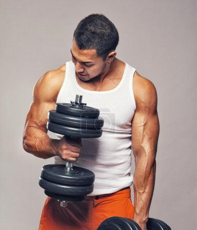 Man with dumbbells