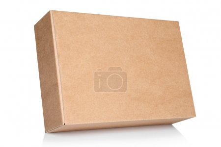 Photo for Cardboard box on white background with reflection - Royalty Free Image