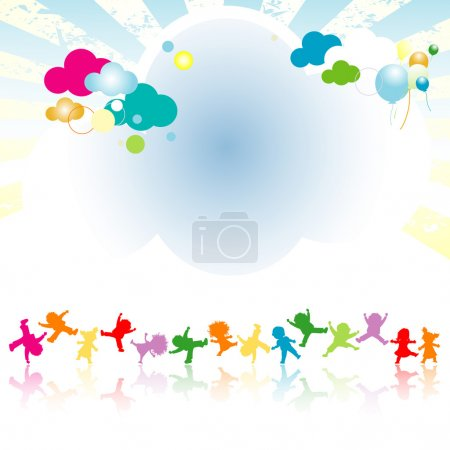 Illustration for Colorful world with happy kids - Royalty Free Image