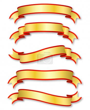 Illustration for Set of five curled golden ribbons - Royalty Free Image