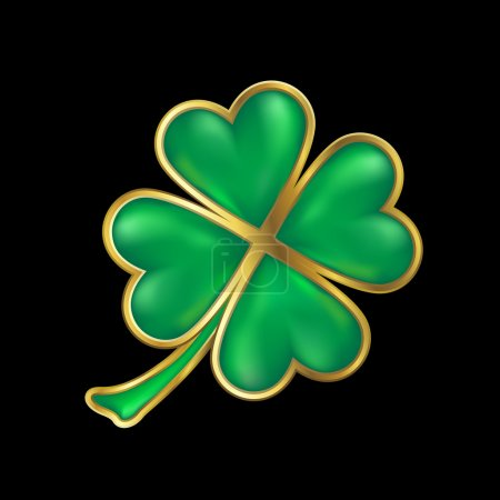 Shiny four leaf clover with golden border
