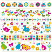 Birds butterflies flowers etc borders cute colorful elements