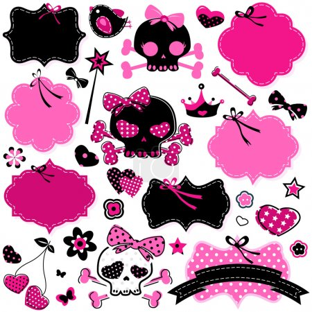 Girlish cute skulls and frames