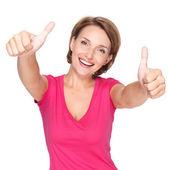Portréja egy szép boldog felnőtt nő remek-megjelöl jel