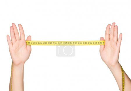 Hand with measure tape