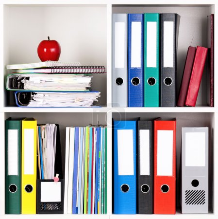 Photo for File folders, standing on the shelves at office - Royalty Free Image