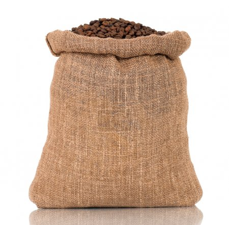 Photo for Coffee beans in burlap sack, isolated on white background - Royalty Free Image