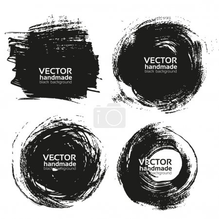 Illustration for Vector beautiful handmade black strokes- backgrounds painted by brush - Royalty Free Image